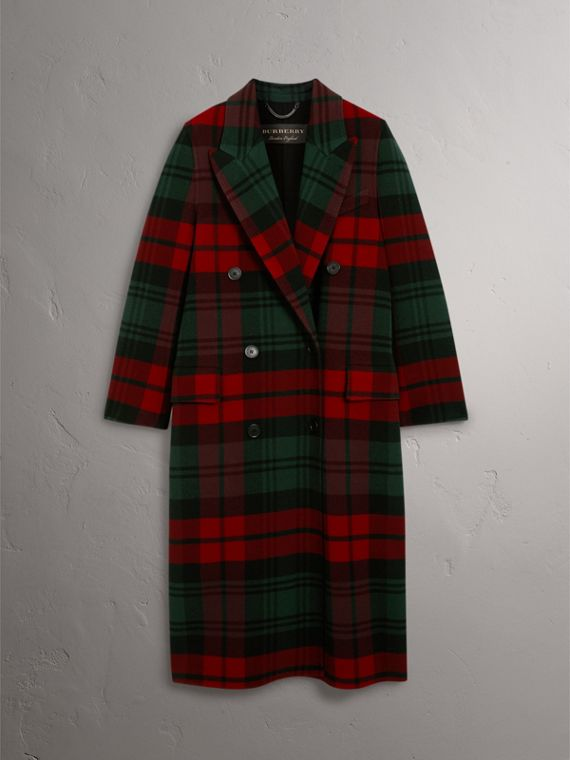Tartan Wool Double-breasted Coat in Racing Green/dark Crimson - Women | Burberry - cell image 3