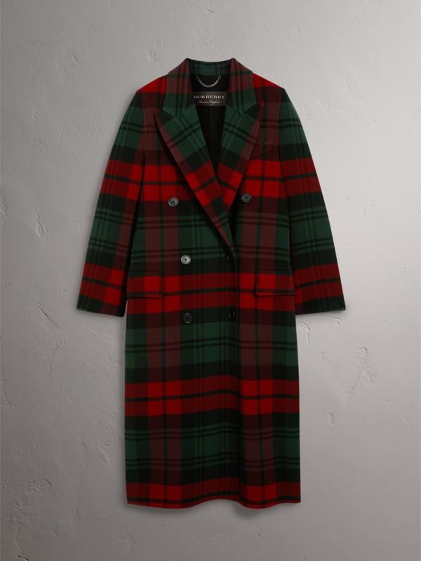 Casaco com trespassado de lã em xadrez tartan (Verde Bandeira/carmesim Escuro) - Mulheres | Burberry - cell image 3