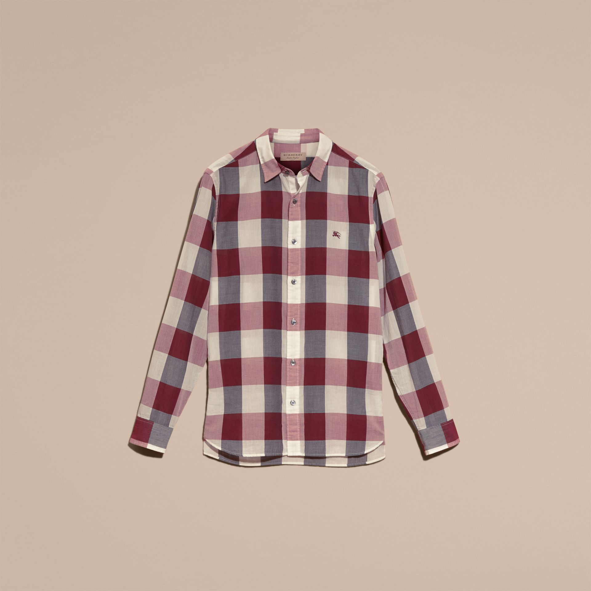 Oversize Gingham Cotton Linen Shirt Plum Pink - gallery image 4