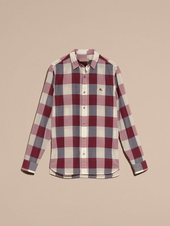 Oversize Gingham Cotton Linen Shirt Plum Pink - cell image 3