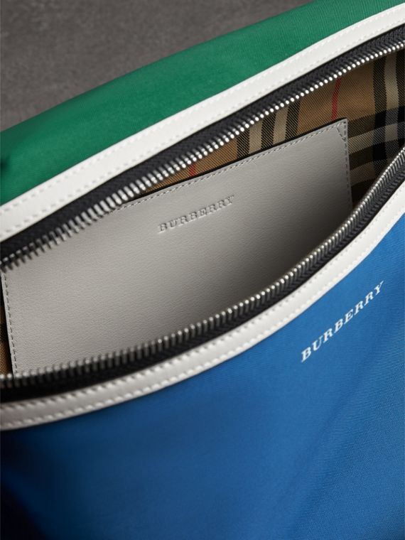 Large Tri-tone Nylon and Leather Bum Bag in Dark Canvas Blue - Men | Burberry - cell image 3