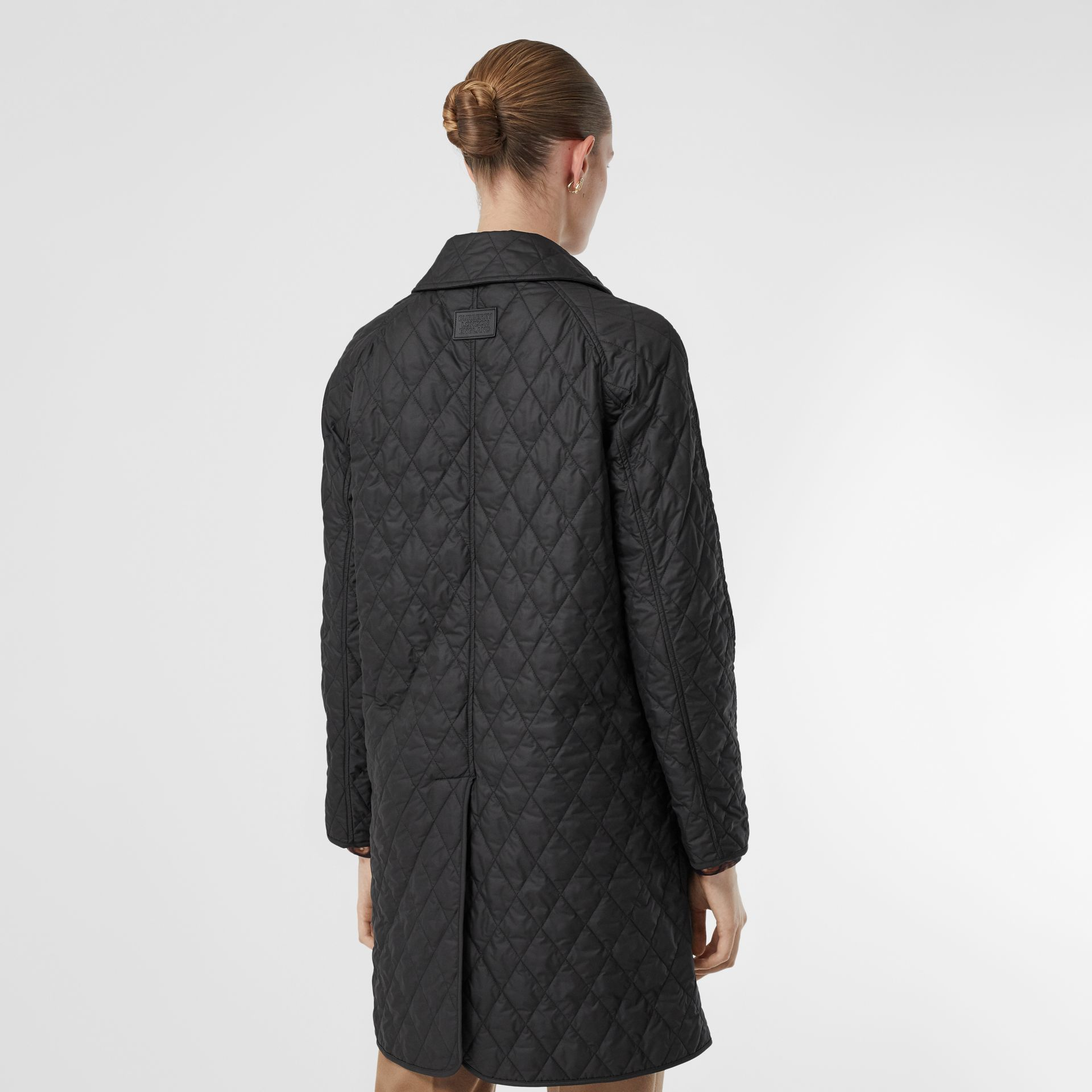 Diamond Quilted Double-breasted Coat in Black - Women | Burberry - gallery image 2