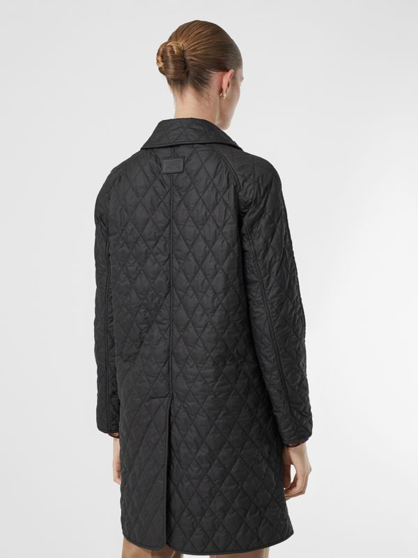 Diamond Quilted Double-breasted Coat in Black - Women | Burberry - cell image 2