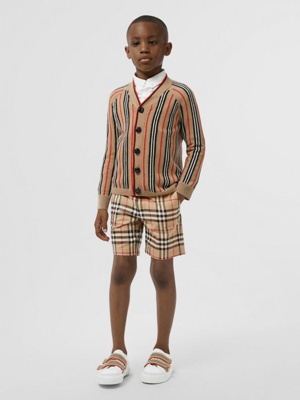 Cardigan en laine et cachemire à rayures iconiques (Beige D'archive)