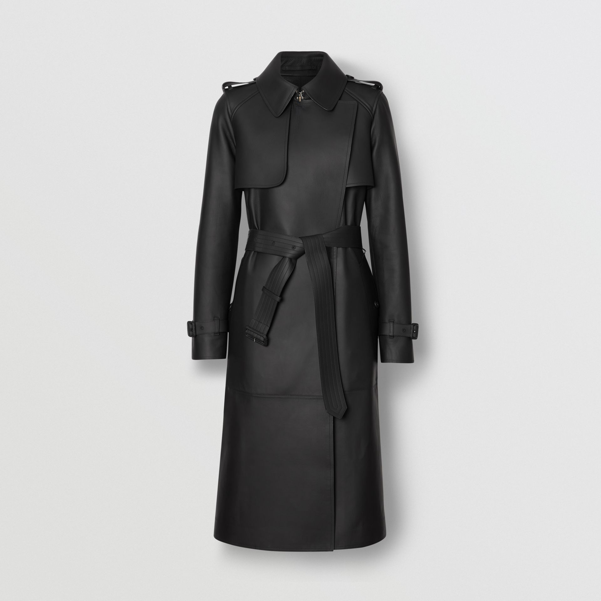Lambskin Wrap Trench Coat in Black - Women | Burberry United Kingdom - gallery image 3