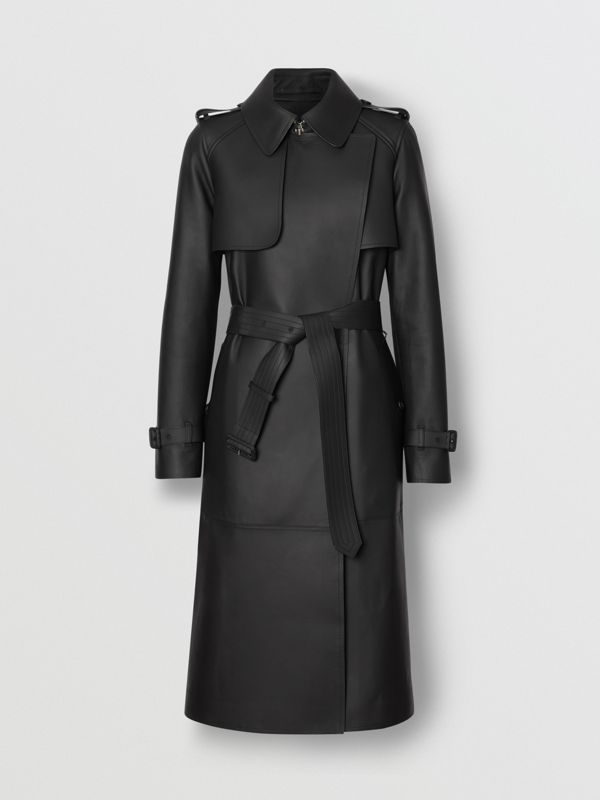 Lambskin Wrap Trench Coat in Black - Women | Burberry United Kingdom - cell image 3