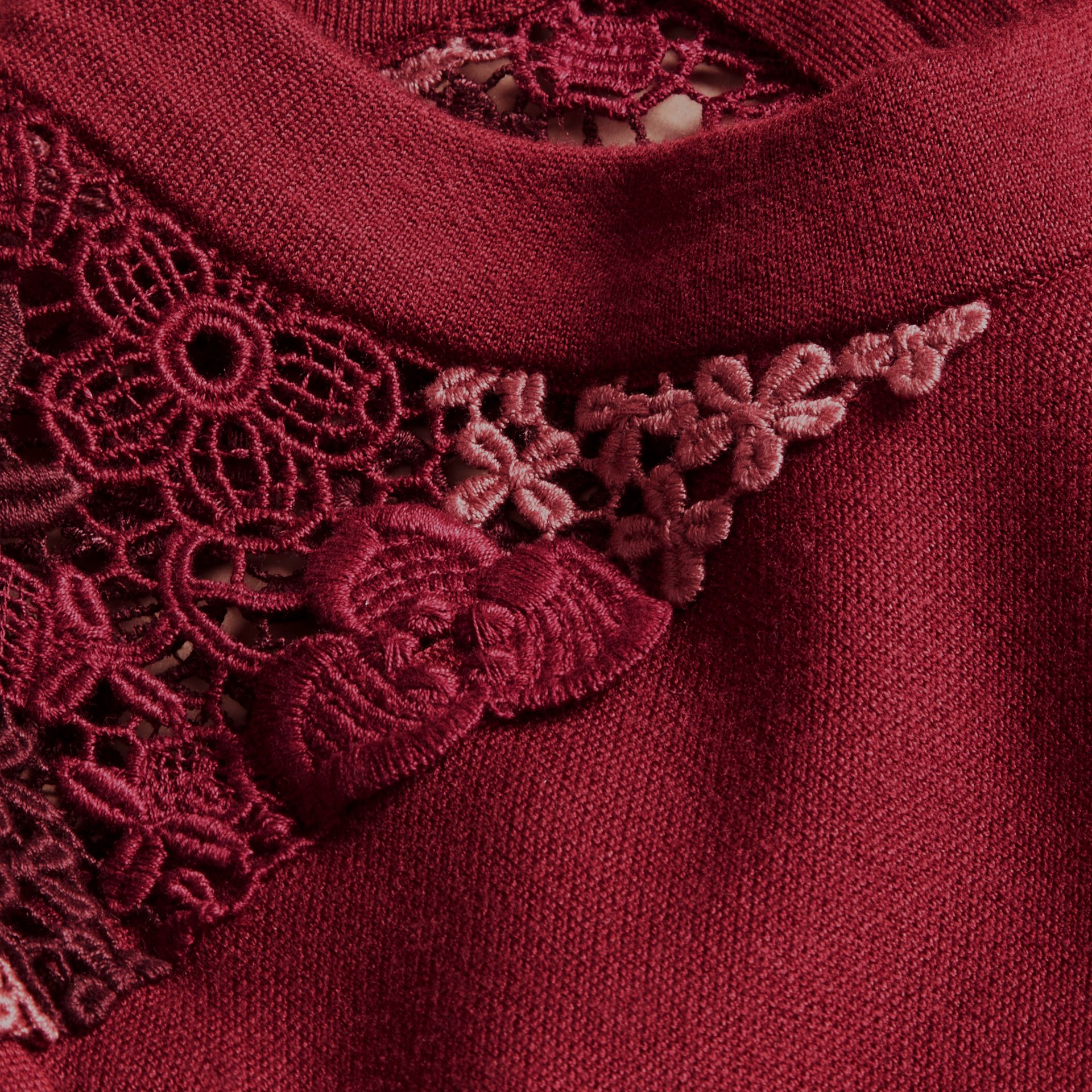 Carmine red Macramé Lace Detail Silk Blend Dress Carmine Red - gallery image 2