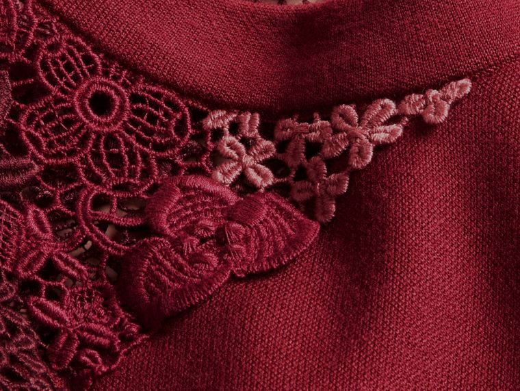 Carmine red Macramé Lace Detail Silk Blend Dress Carmine Red - cell image 1