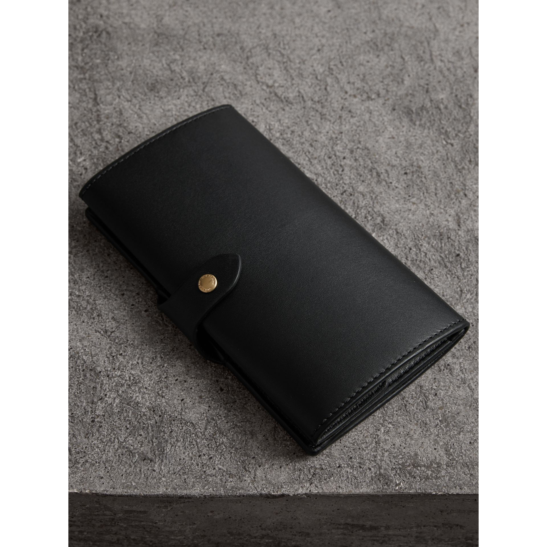 Equestrian Shield Leather Continental Wallet in Black - Women | Burberry - gallery image 2