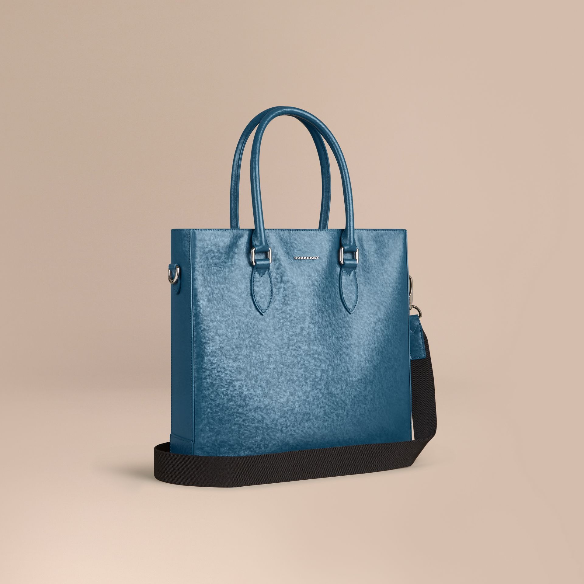 London Leather Tote Bag in Mineral Blue - Men | Burberry - gallery image 1