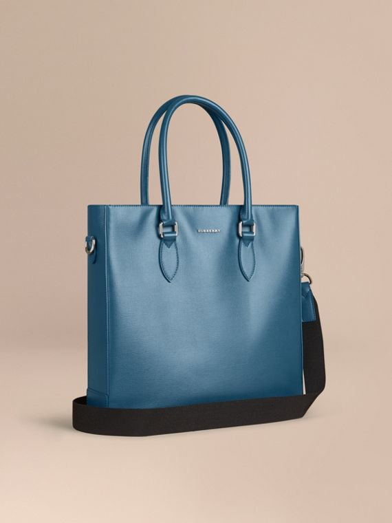 London Leather Tote Bag in Mineral Blue