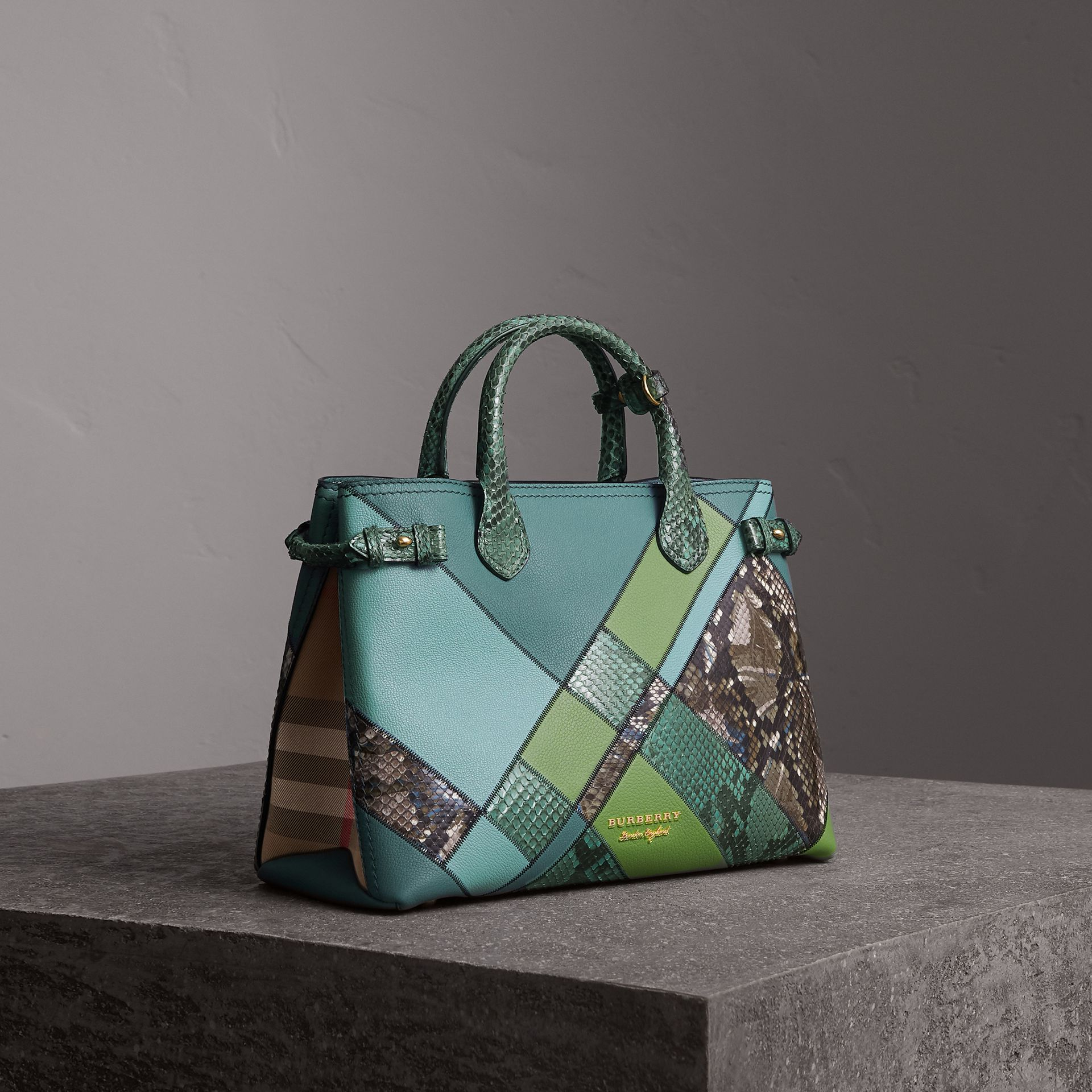 The Medium Banner in Patchwork Leather and Python in Celadon Blue - Women | Burberry - gallery image 0