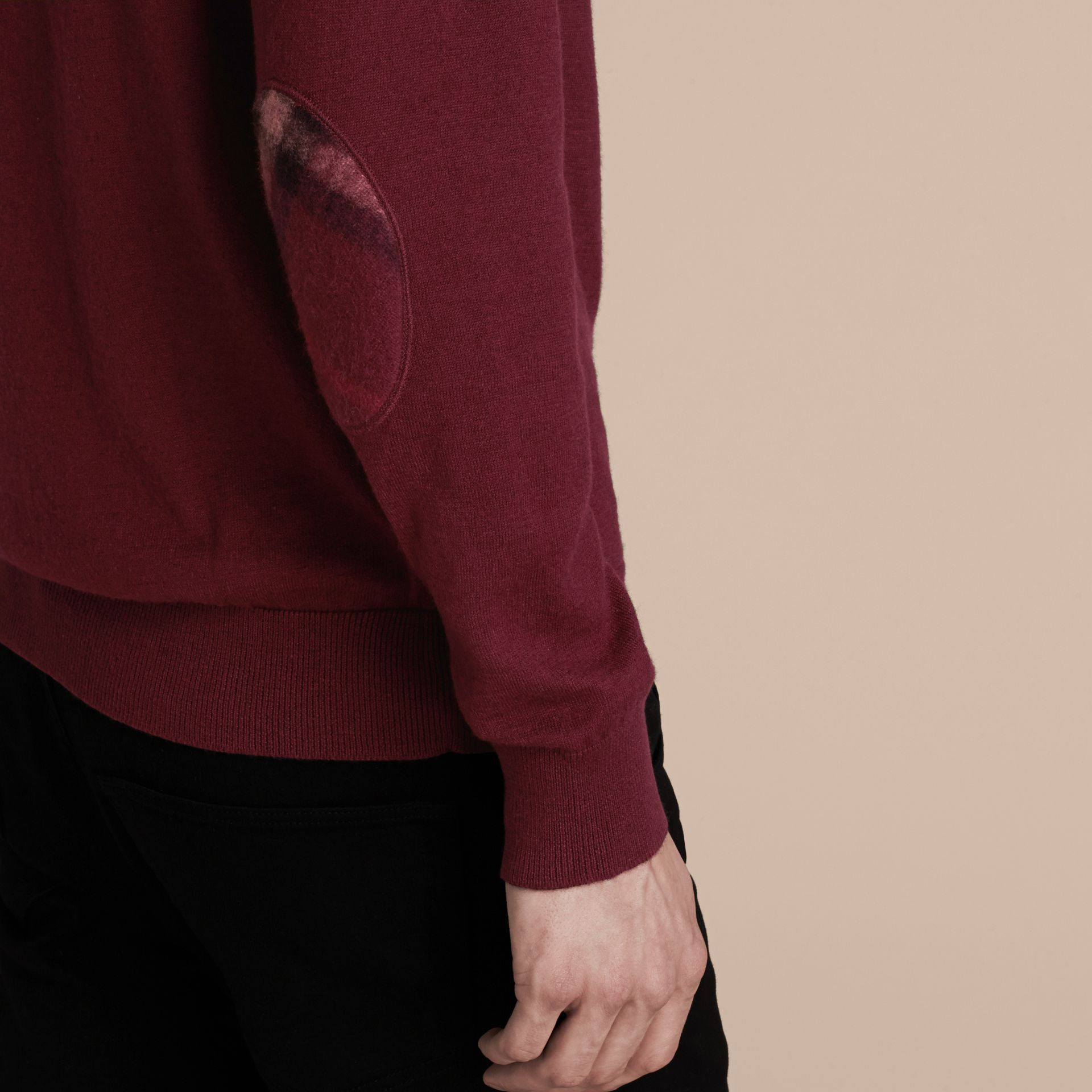 Check Trim Cashmere Cotton Sweater Claret - gallery image 5