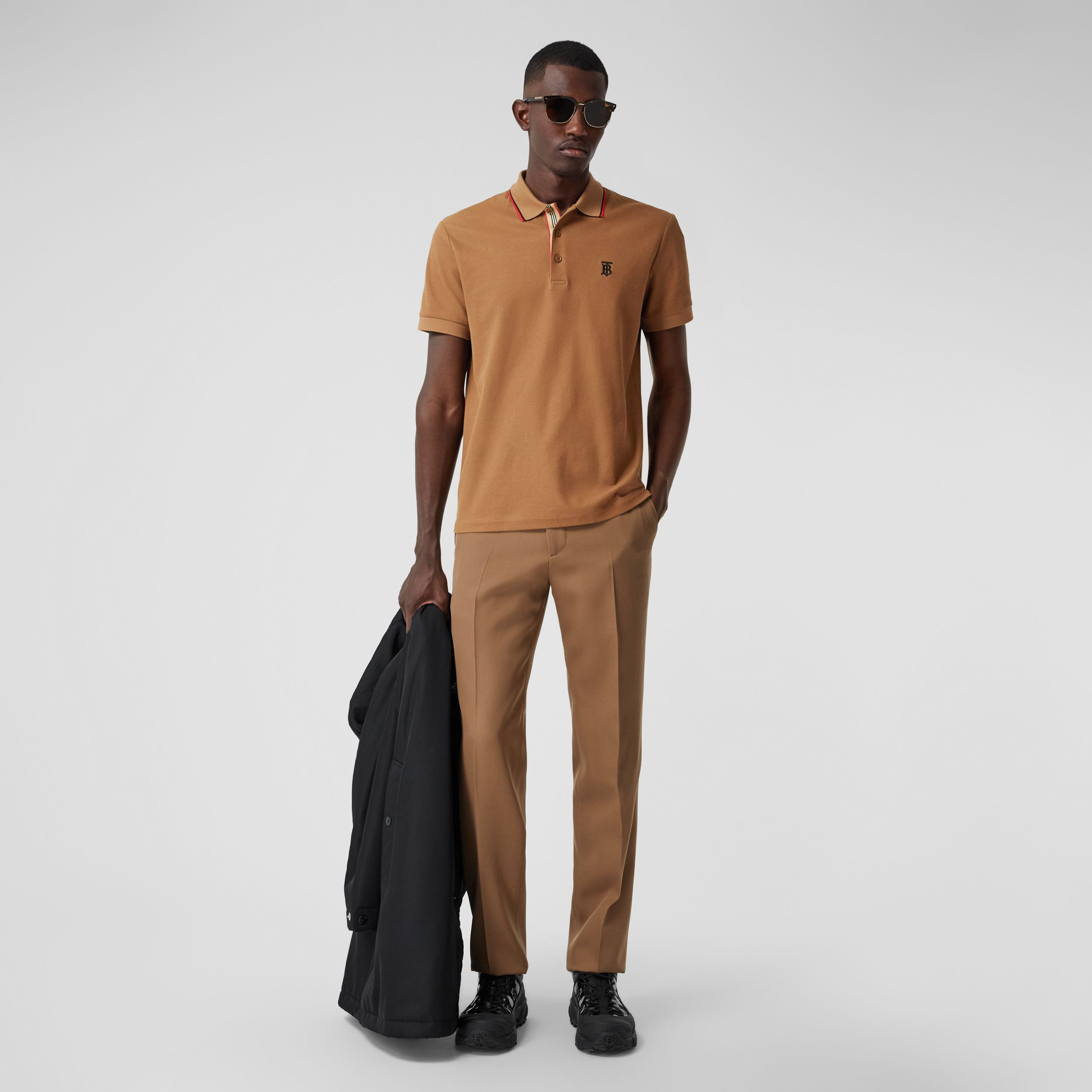 Monogram Motif Cotton Piqué Polo Shirt in Warm Brown - Men | Burberry - 4