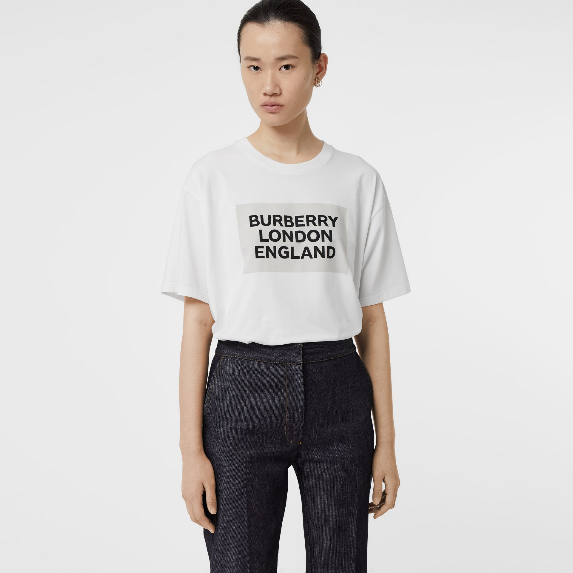 Logo Print Stretch Cotton Oversized T-shirt in Optic White - Women | Burberry - gallery image 0