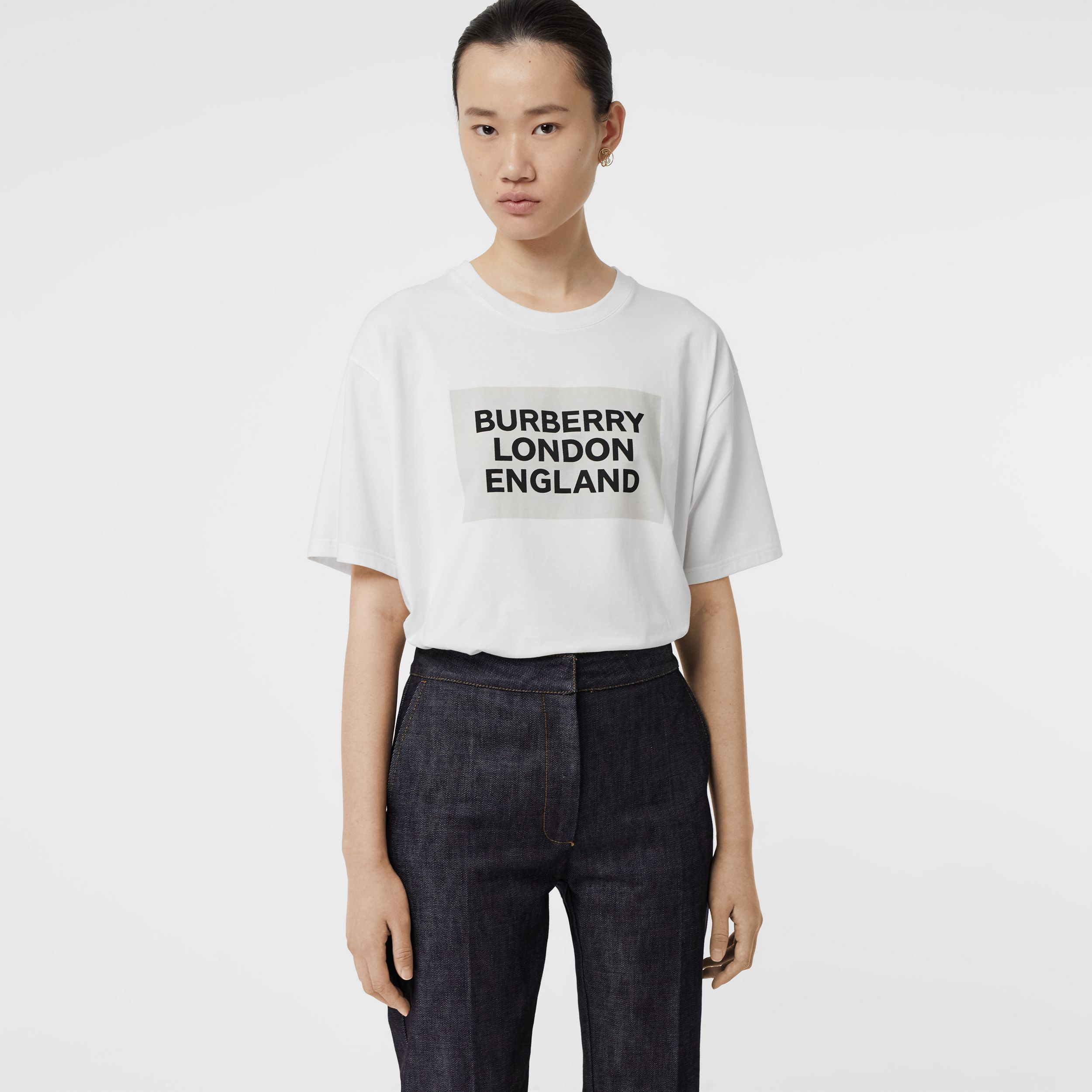 Logo Print Stretch Cotton Oversized T-shirt in Optic White | Burberry Canada - 1