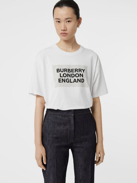 Logo Print Stretch Cotton Oversized T-shirt in Optic White