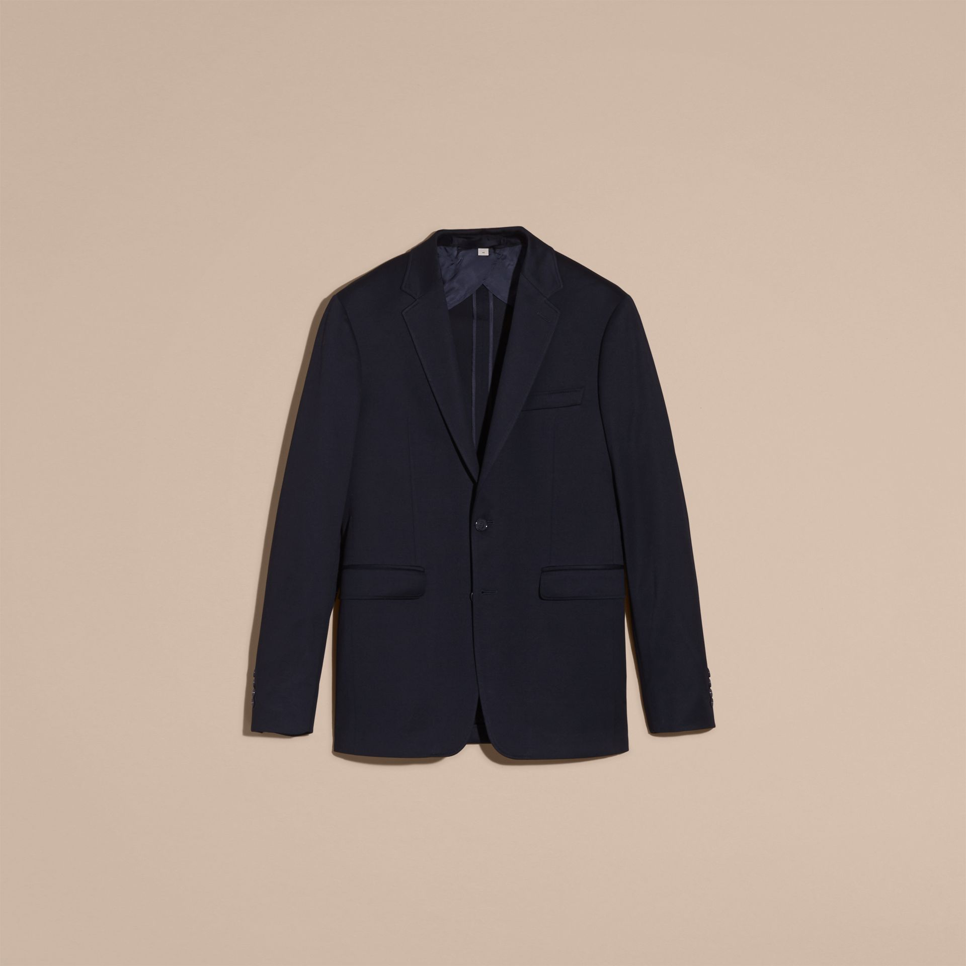 Navy Slim Fit Tailored Cotton Jersey Jacket Navy - gallery image 4