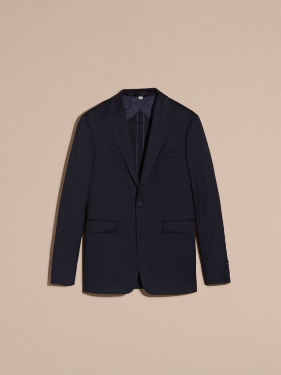 Navy Slim Fit Tailored Cotton Jersey Jacket Navy - cell image 3