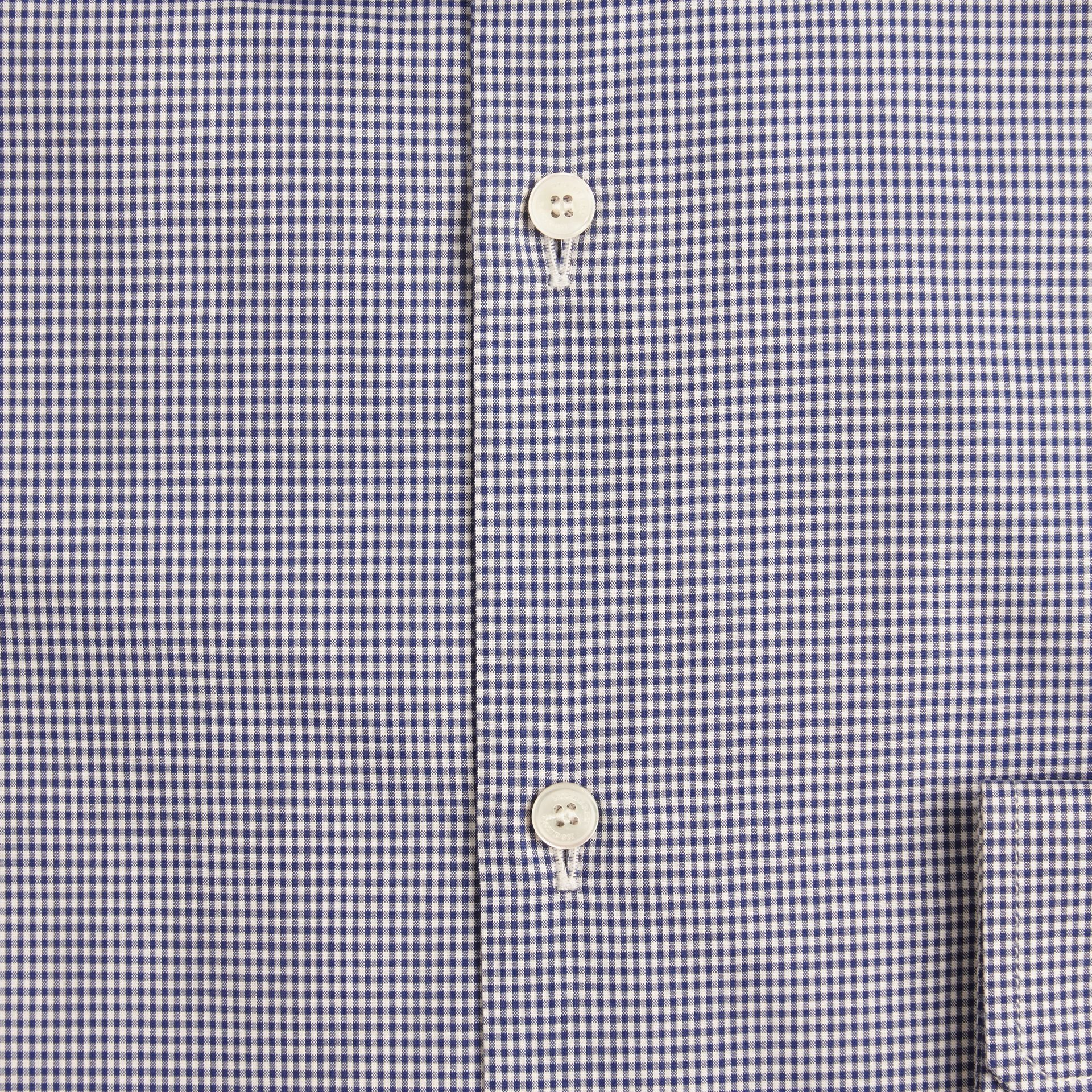 Slim Fit Gingham Cotton Poplin Shirt in Dark Empire Blue - gallery image 2