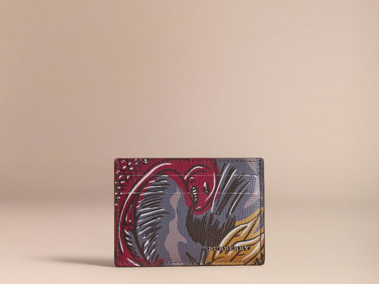 Beasts Print Leather Card Case in Navy Grey - Men | Burberry - cell image 4