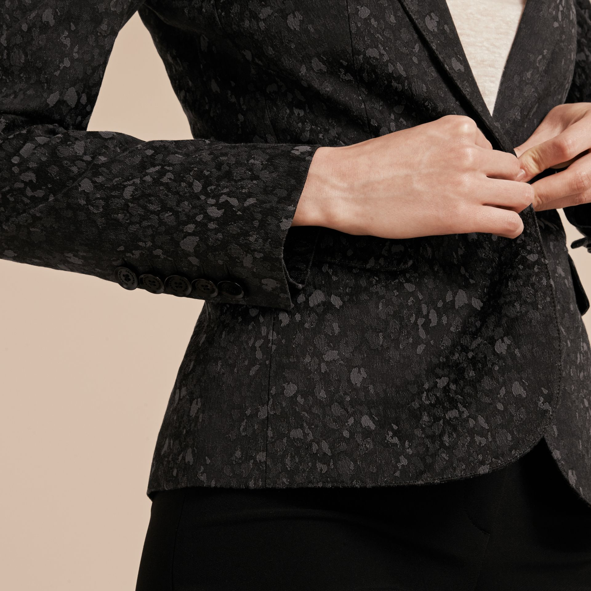 Dark grey Cotton Blend Jacquard Jacket - gallery image 5