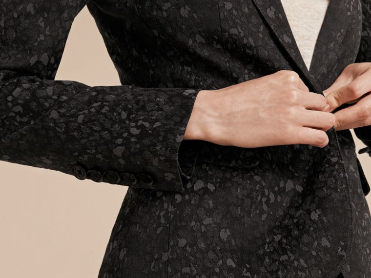 Dark grey Cotton Blend Jacquard Jacket - cell image 4