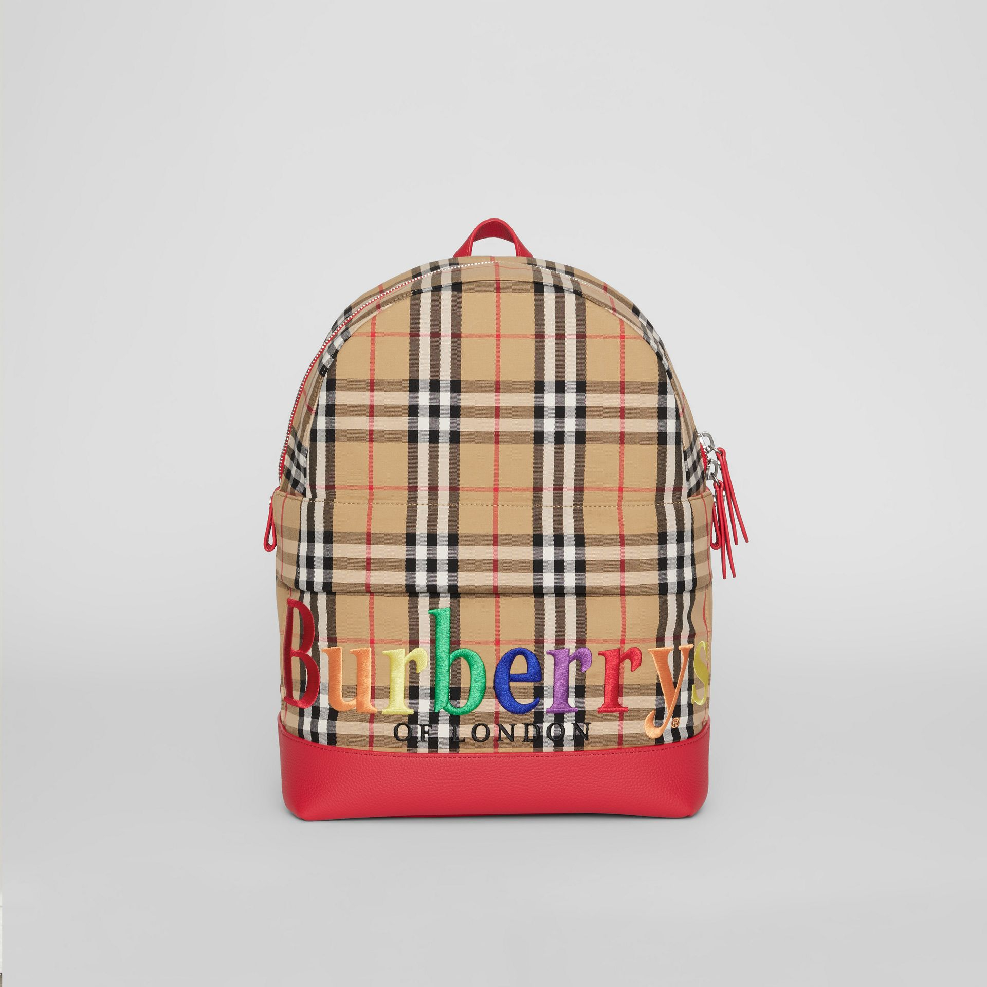 Embroidered Archive Logo Vintage Check Backpack in Antique Yellow | Burberry - gallery image 0