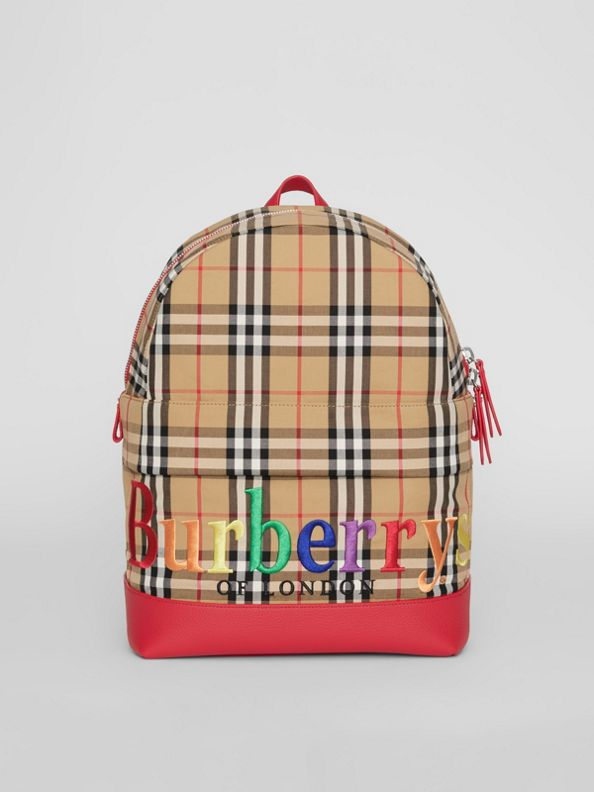Embroidered Archive Logo Vintage Check Backpack in Antique Yellow