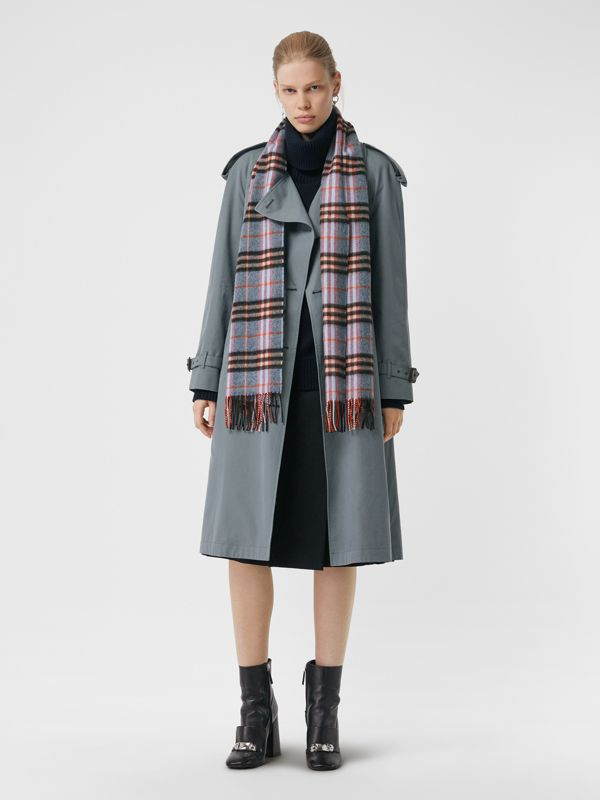 Check Cashmere Scarf in Pale Carbon Blue | Burberry - cell image 2