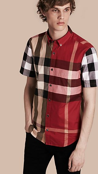 Short-sleeved Colour Block Check Cotton Shirt