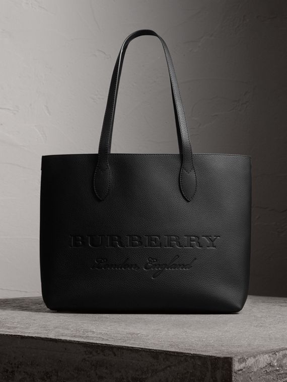 Embossed Leather Tote in Black