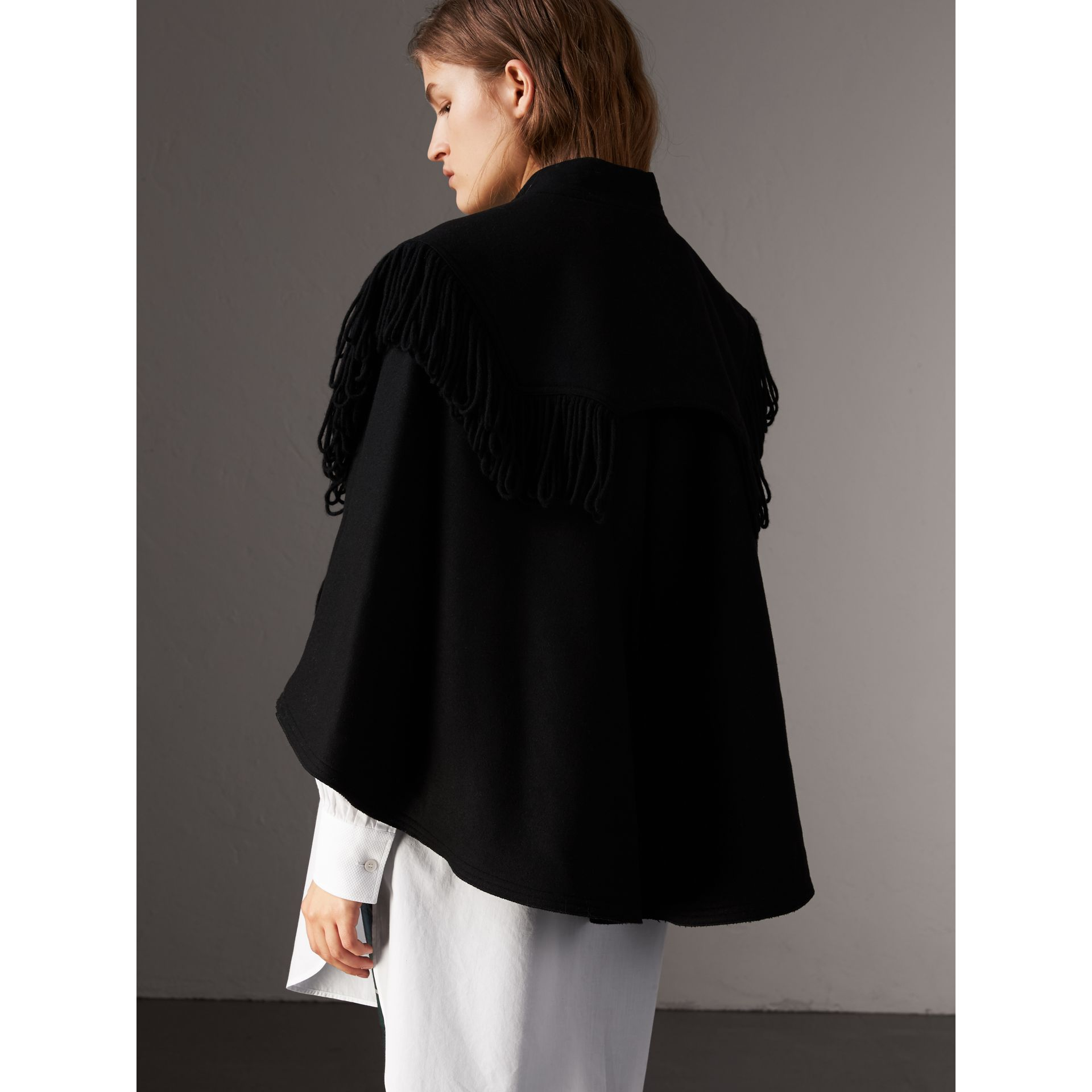 Fringed Wool Blend Military Cape in Black - Women | Burberry United States - gallery image 2