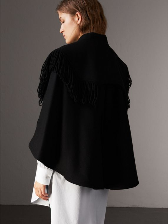 Fringed Wool Blend Military Cape in Black - Women | Burberry United States - cell image 2