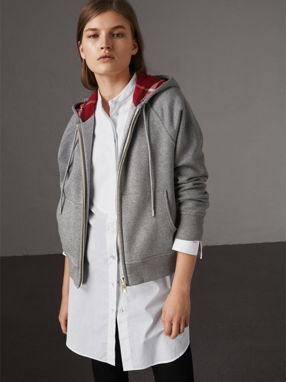 Hooded Zip-front Cotton Blend  Sweatshirt in Mid Grey Melange - Women | Burberry United Kingdom - cell image 3