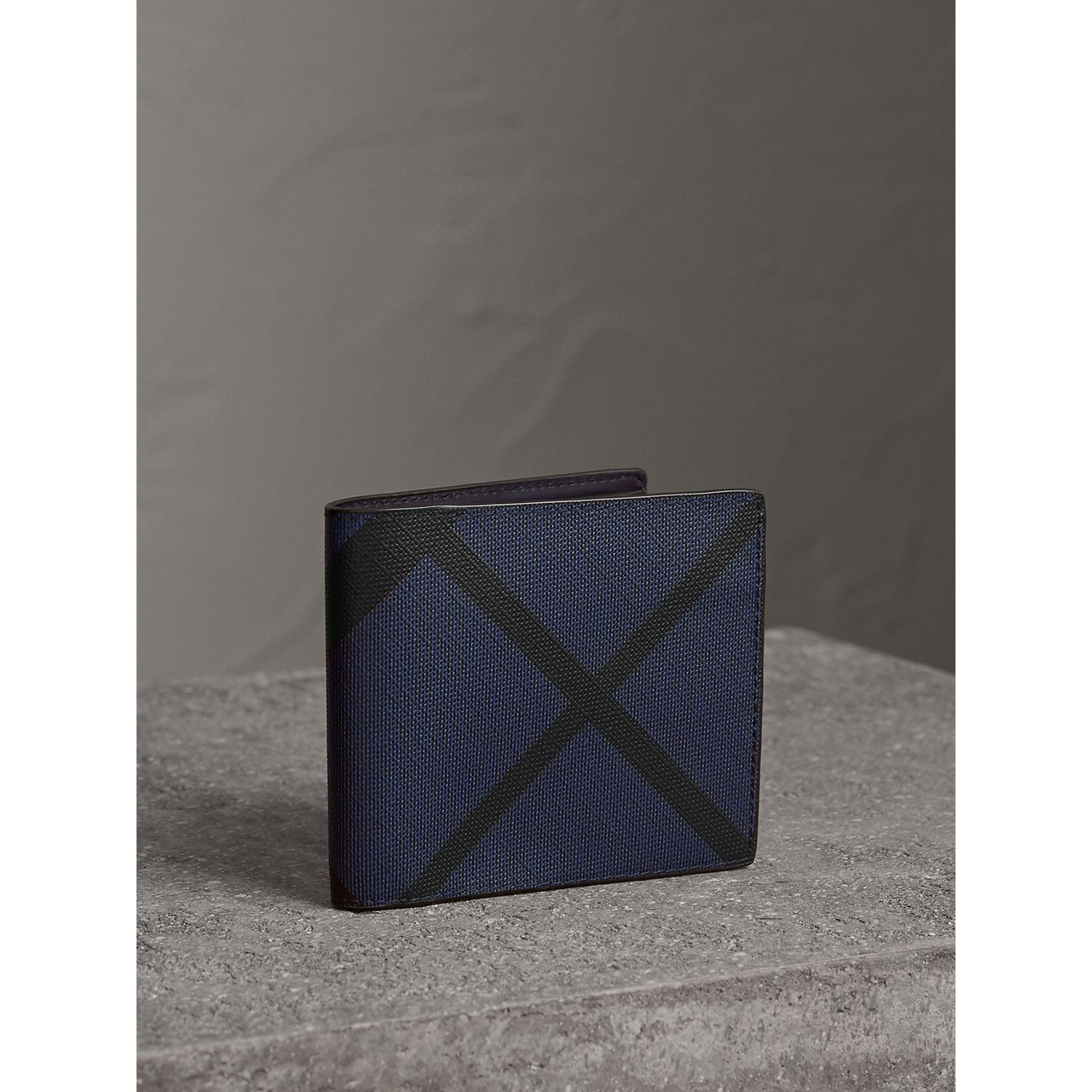 London Check International Bifold Wallet in Bright Lapis - Men | Burberry Australia - gallery image 1