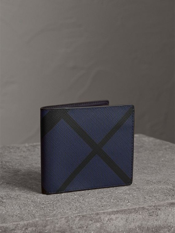 London Check International Bifold Wallet in Bright Lapis