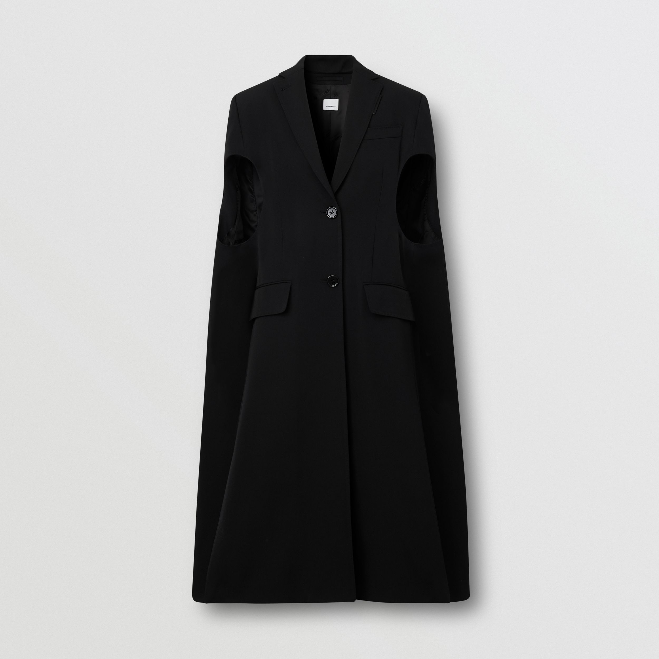 Grain De Poudre Wool Tailored Cape in Black - Women | Burberry Australia - 4