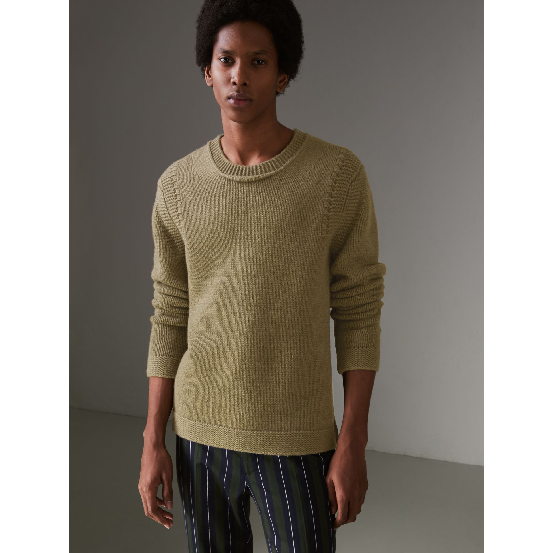 Link Stitch Detail Cashmere Sweater in Clay Green - Men | Burberry - gallery image 0