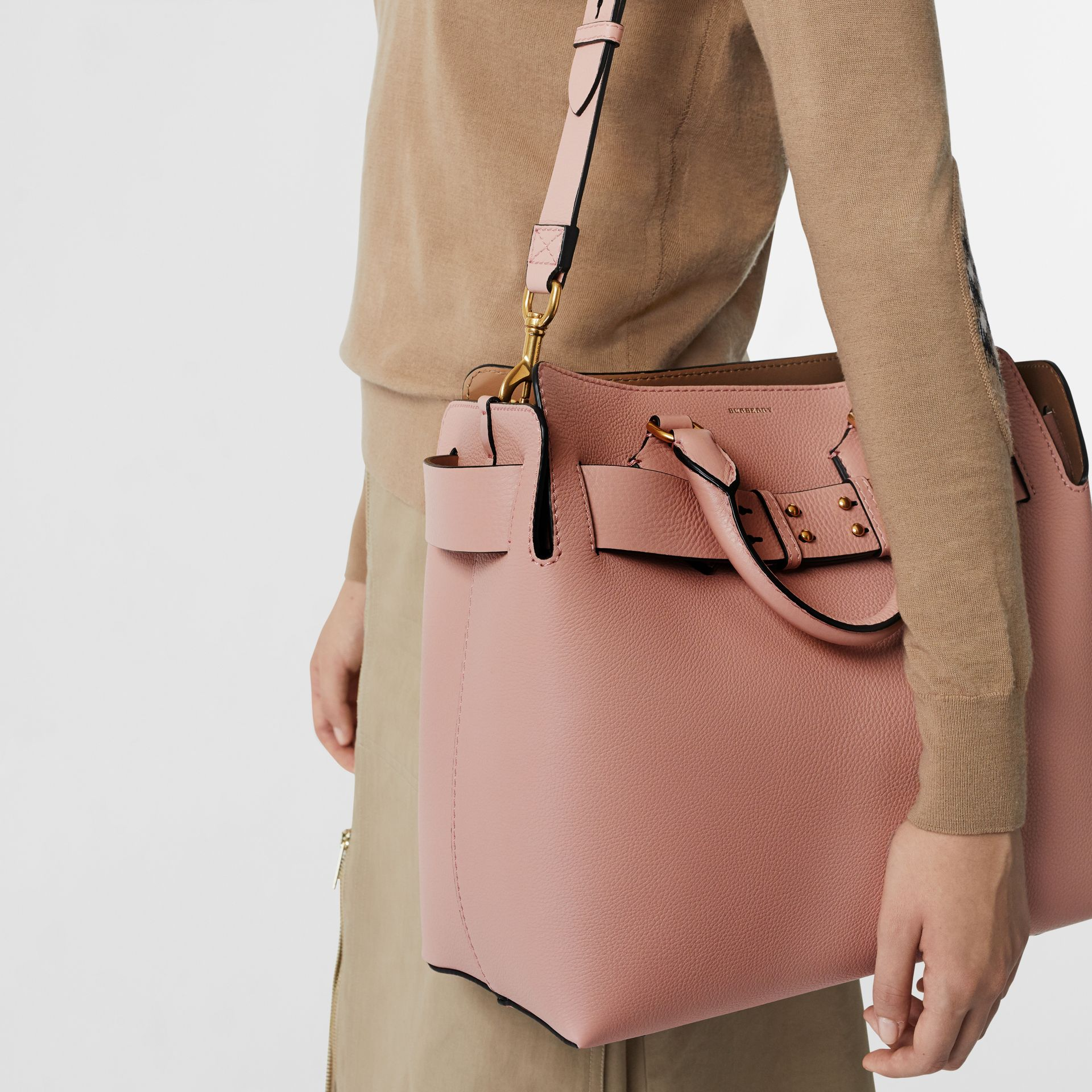 The Medium Leather Belt Bag in Ash Rose - Women | Burberry United Kingdom - gallery image 3