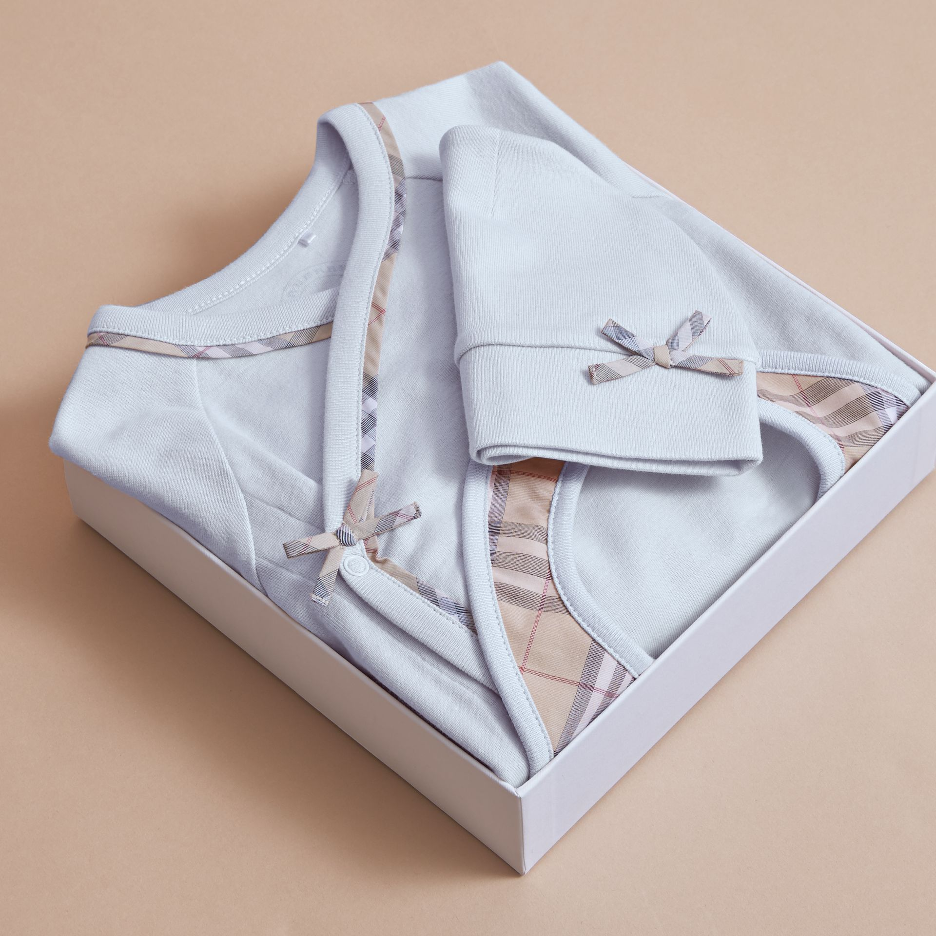 Cotton Three-piece Baby Gift Set in Ice Blue | Burberry - gallery image 4