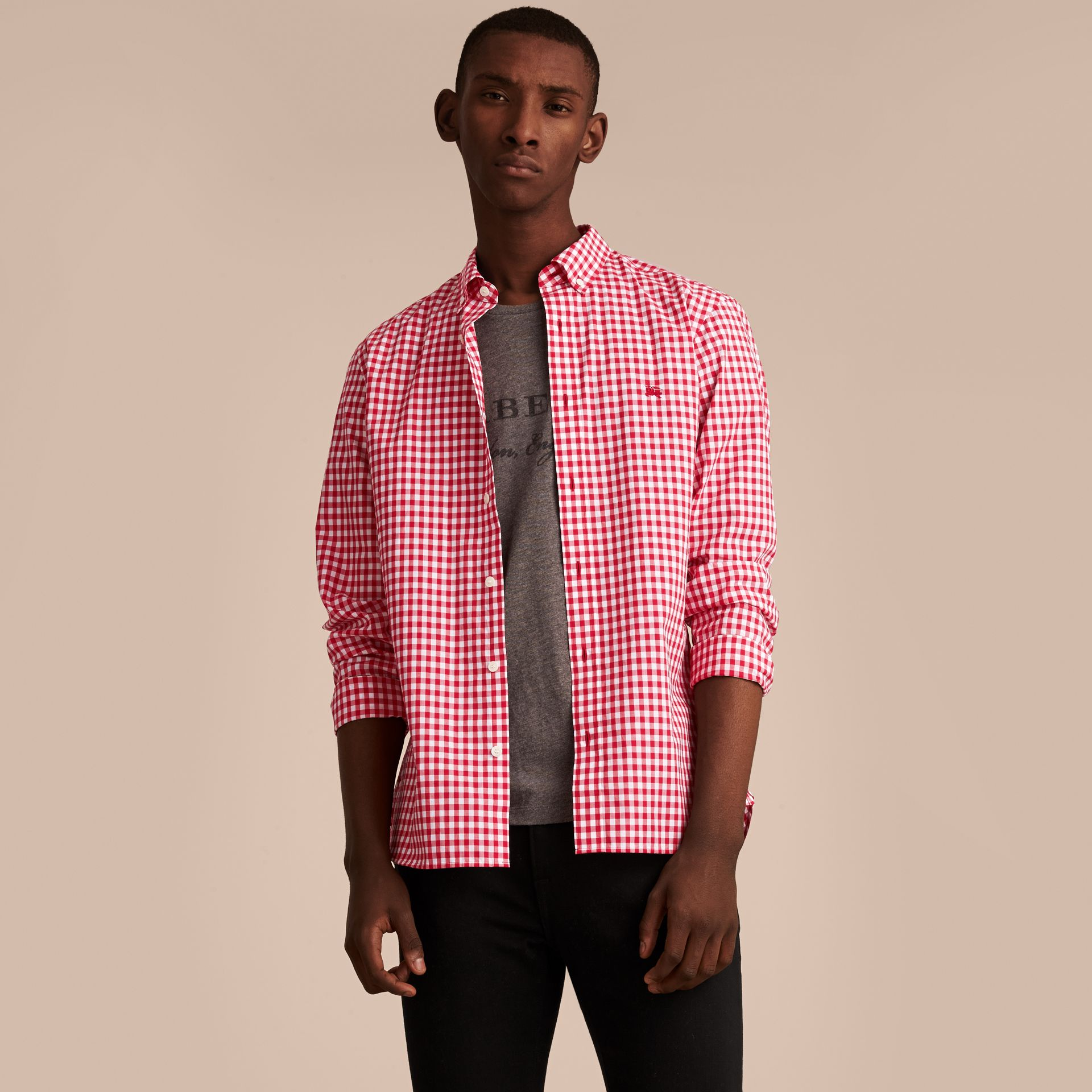 Button-down Collar Gingham Cotton Shirt Parade Red - gallery image 6