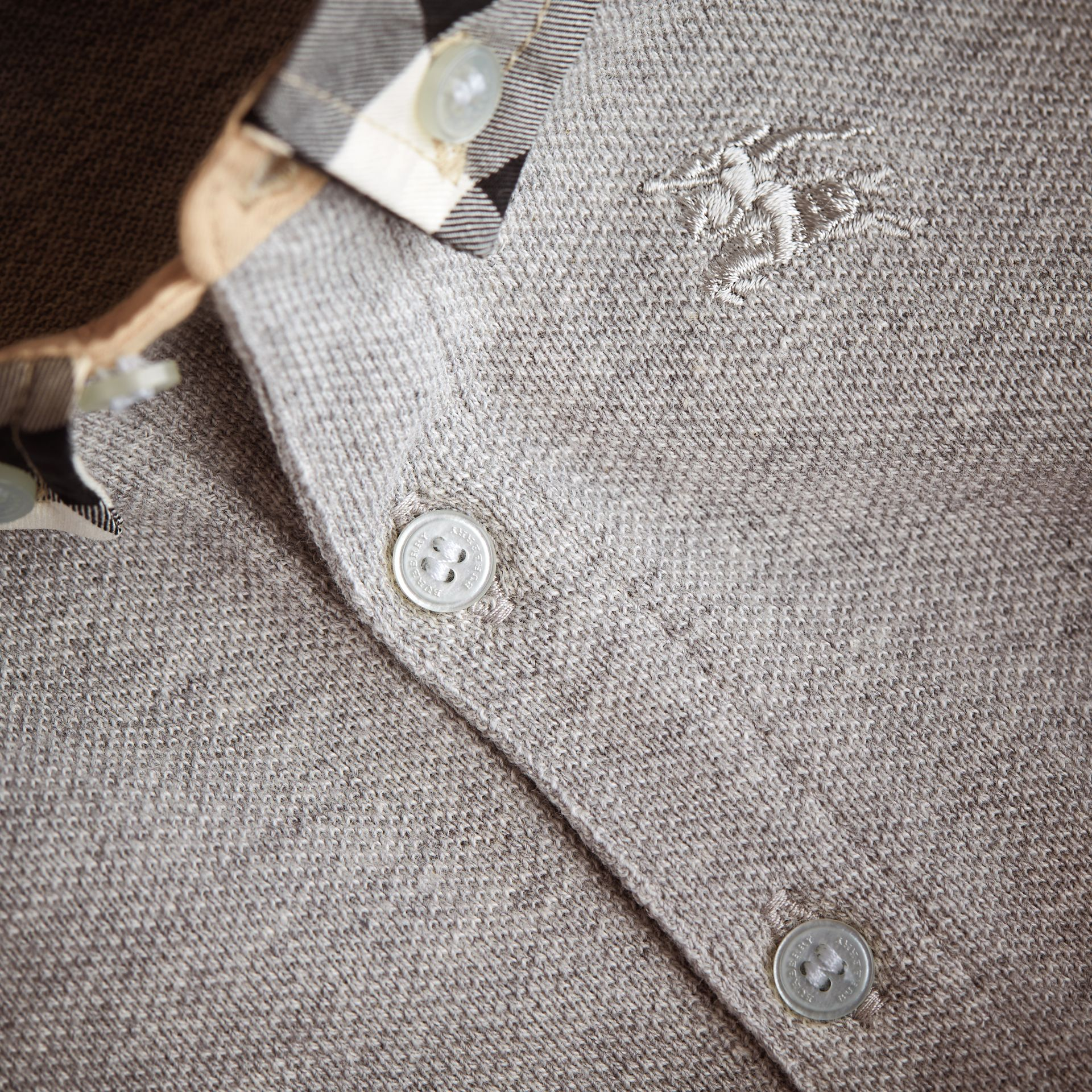 Check Collar Cotton Polo Shirt in Pale Grey Melange - gallery image 2