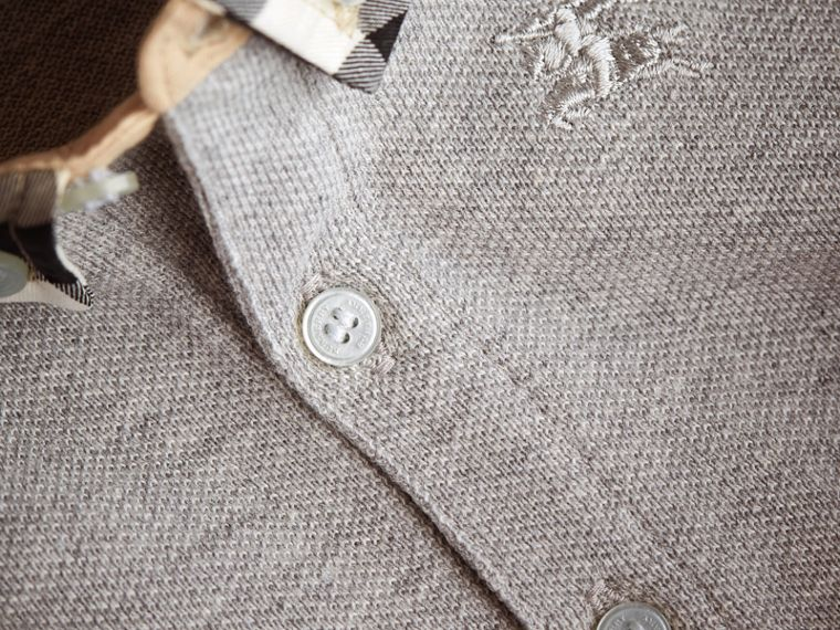 Check Collar Cotton Polo Shirt in Pale Grey Melange | Burberry - cell image 1