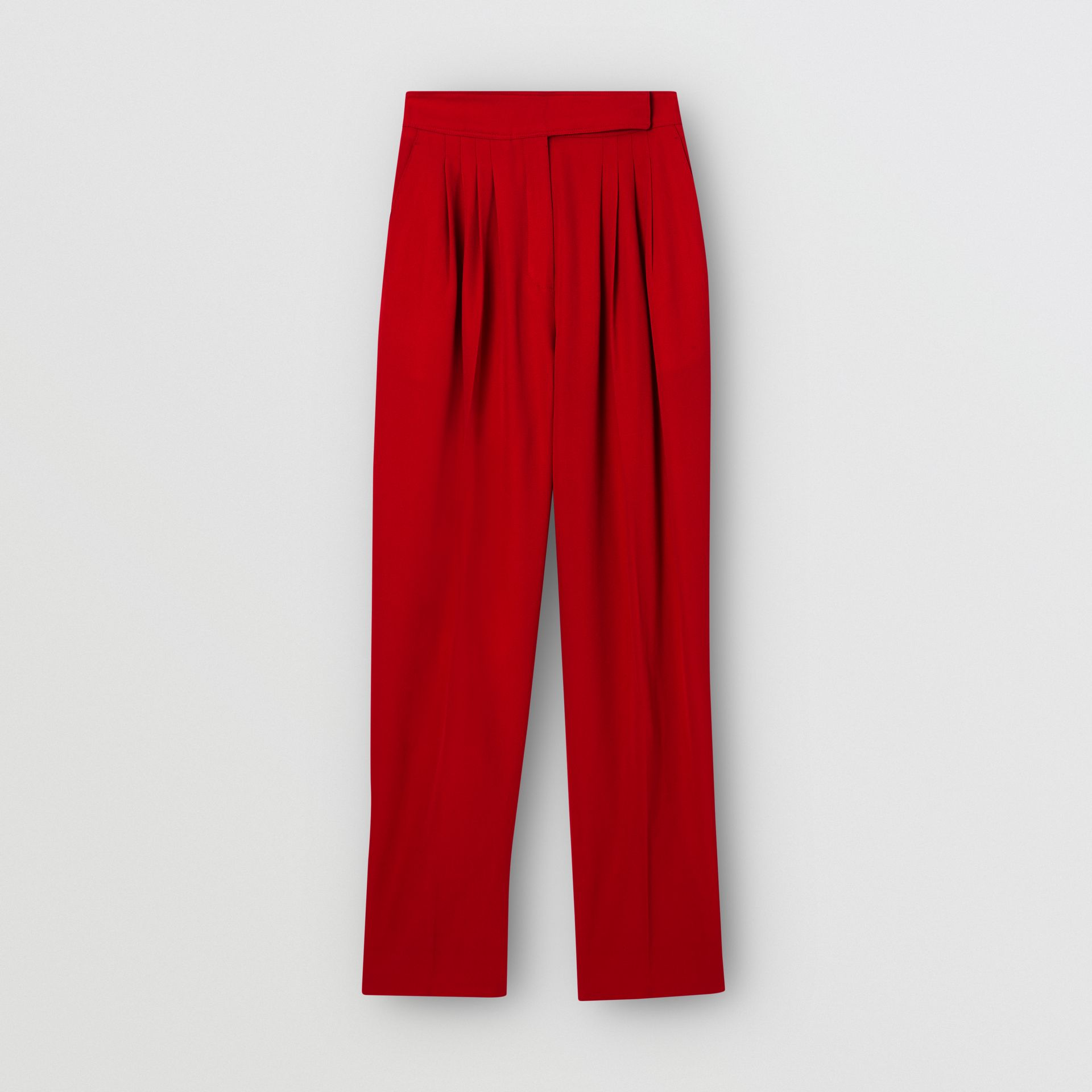 Pleat Detail Wool Tailored Trousers in Bright Red - Women | Burberry Australia - gallery image 3