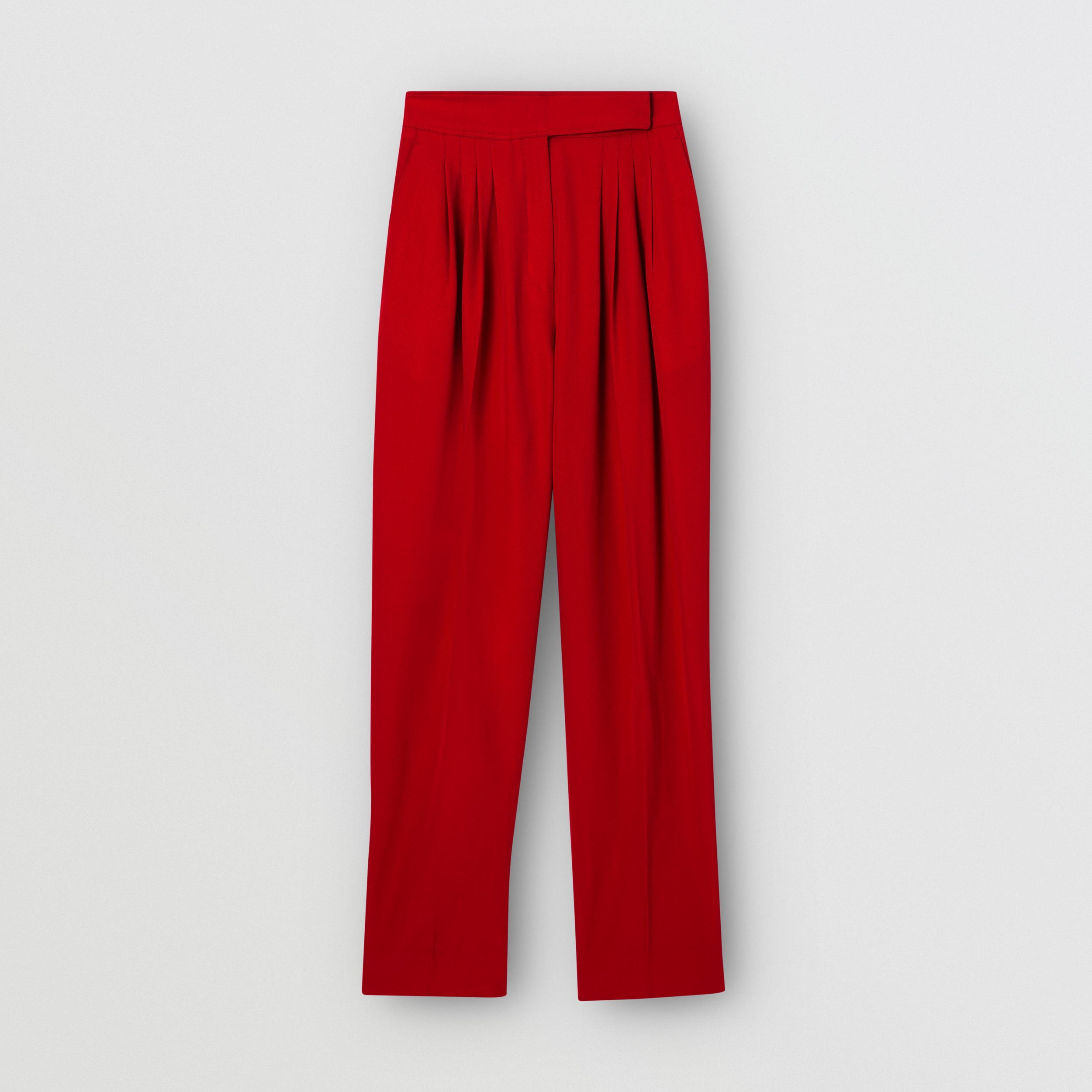 Pleat Detail Wool Tailored Trousers in Bright Red - Women | Burberry - 4