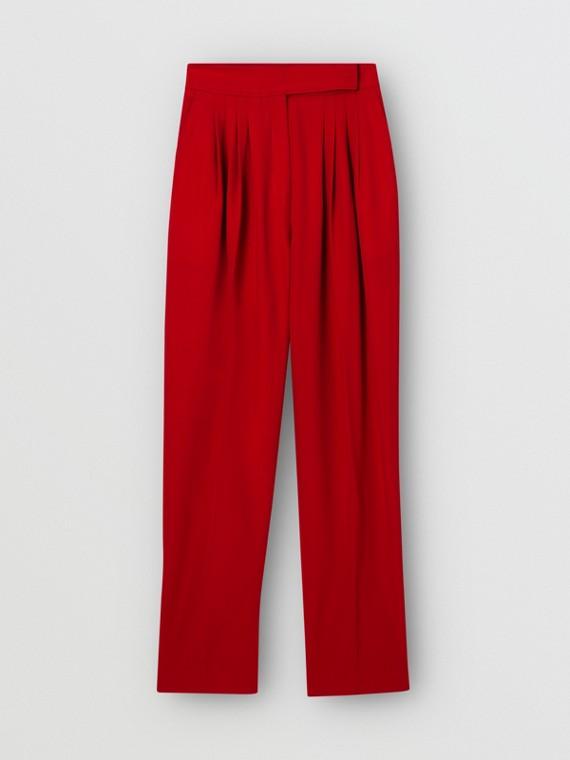 打褶細節設計羊毛套量裁製長褲 (亮紅色)