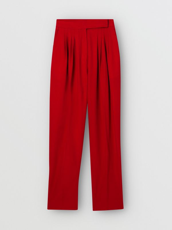 Pleat Detail Wool Tailored Trousers in Bright Red - Women | Burberry Australia - cell image 3