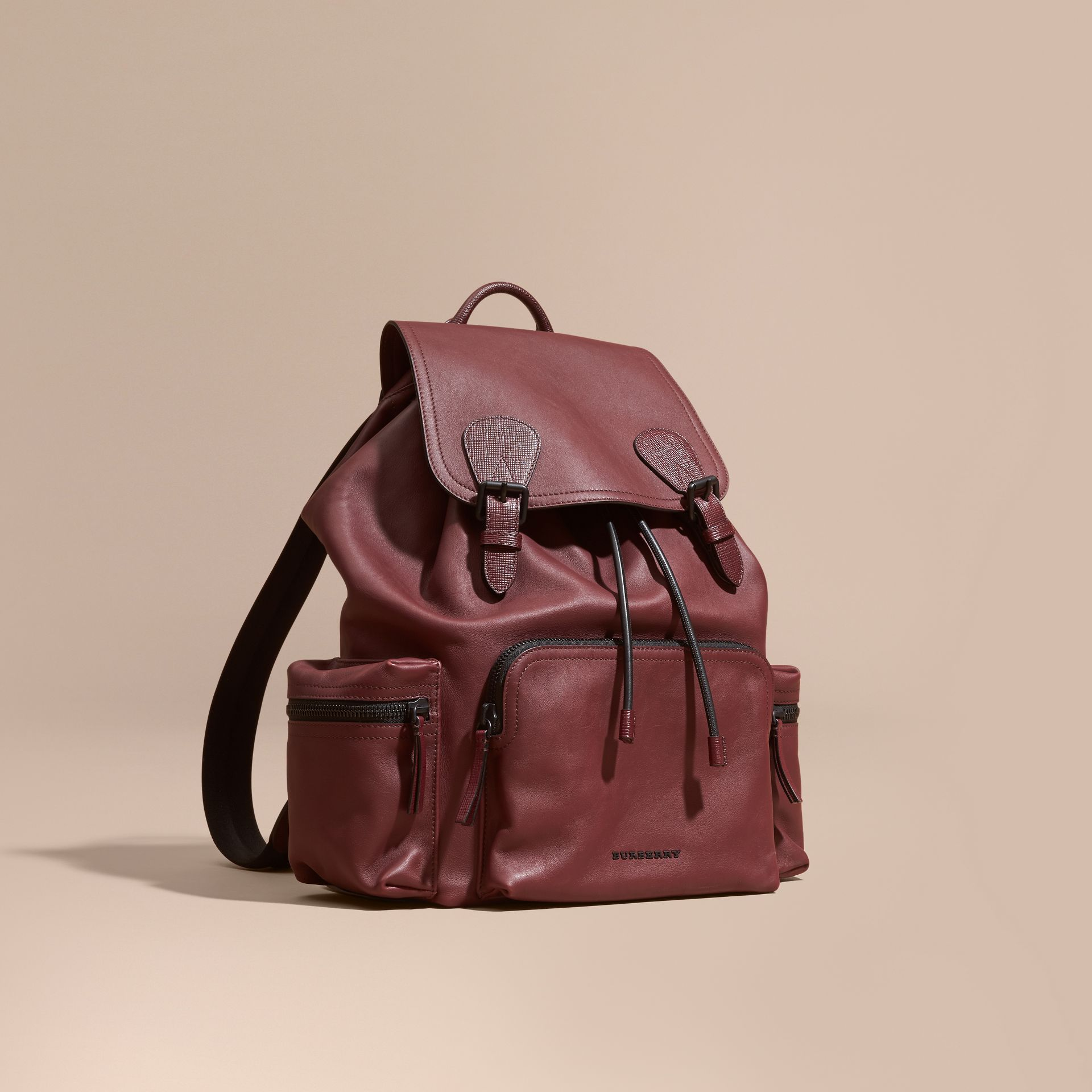 The Large Rucksack in Water-repellent Leather in Burgundy Red - gallery image 1