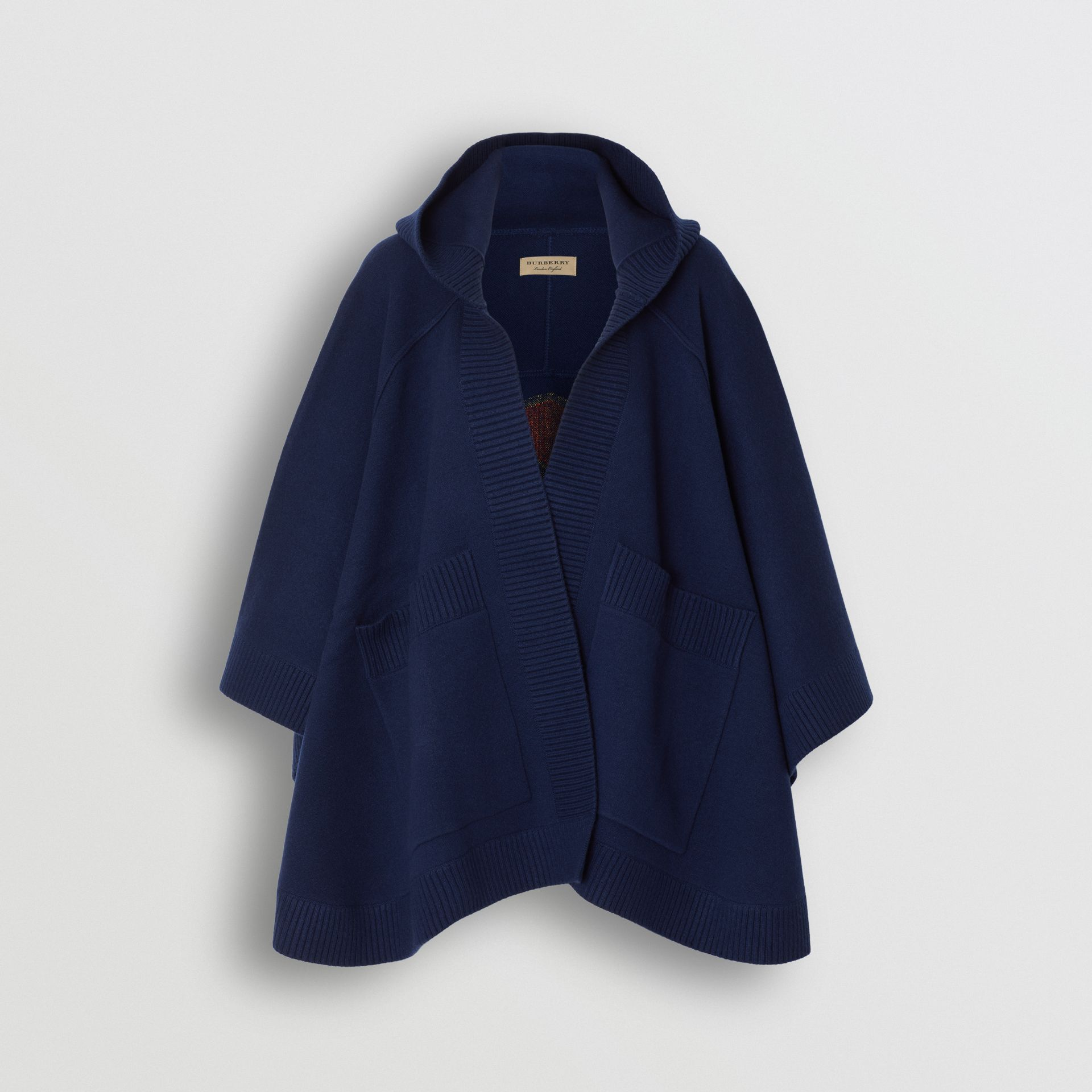 Crest Wool Blend Jacquard Hooded Cape in Navy - Women   Burberry United Kingdom - gallery image 3